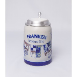 """Merkelbach Bierkrug """"Franken, Bayerns Elite"""" mit Zinndeckel"""