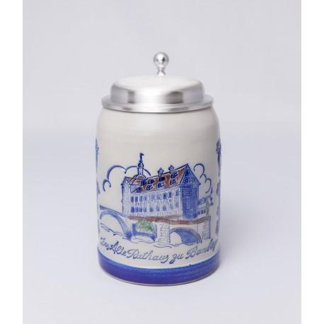 """Merkelbach Bierkrug """"Das Alte Rauthaus zu Bamberg"""" mit Zinndeckel"""