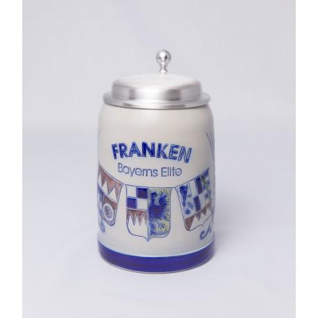"""MB Bierkrug """"Franken, Bayerns Elite"""" mit Zinndeckel"""