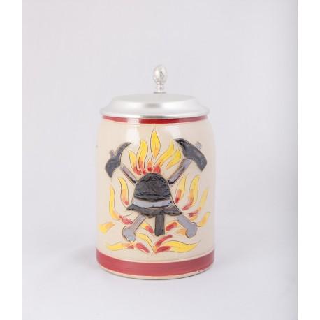 """E Bierkrug """"freiwillige Feuerwehr"""" mit Zinndeckel und individueller Gravur"""