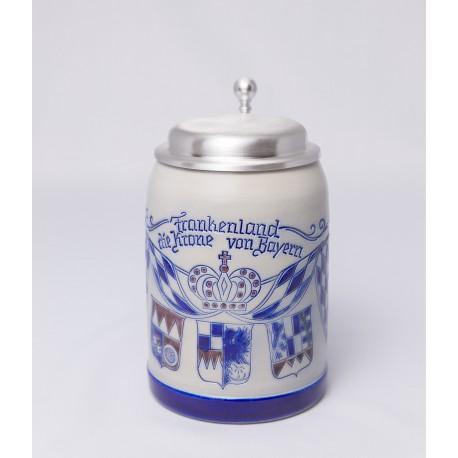 """Merkelbach Bierkrug """"Frankenland die Krone von Bayern"""" mit Zinndeckel"""